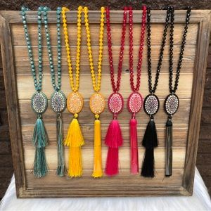 Crystal Coin Crystal Beaded Tassel Necklaces